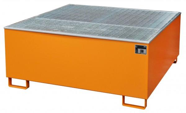 Auffangwanne mit Gitterrost und PE-Einsatz Typ AW 1000/PE - Gelborange RAL 2000