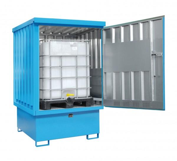 Gefahrstoff-Depot Typ GD-E-IBC mit zusätzlicher Außenlackierung