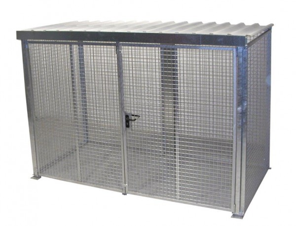 Gasflaschen-Container GFC-M-4-D-DF mit Dach & Doppelflügeltor für max. 78 Gasflaschen