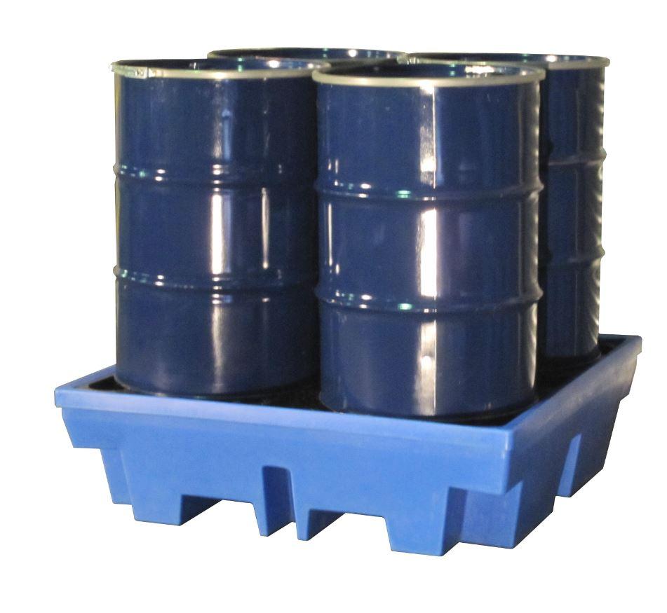 Kunststoff-Auffangwanne aus PE WP-PE 4/4 für max. 4 200-l-Fässer