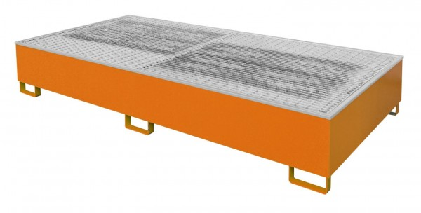 Auffangwanne mit Gitterrost und PE-Einsatz Typ AW 1000-2/PE - RAL 2000